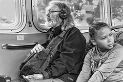 SIMPATICO CITY TRAVELERS (panache2620) Tags: publictransportation metrotransit minneapolis minnesota urban city child simpatico peace coexistence adult bw monochrome eos canon candid documentary photojournalism