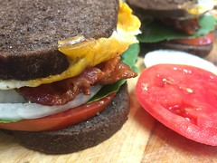 Super #BLT with melted #cheese & #onion on #pumpernickel - h (SouthernBreeze) Tags: sandwich blt tomato bacon lettuce cheese melted pumpernickel bread protein green red sooc yellow i6 iphoneography light travel trip family food fun friends homemade tasty delicious nutritious 2017