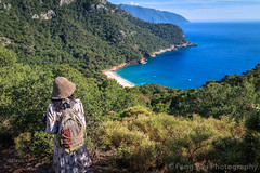 Female Tourist On The Trail To Kabak Beach, Fethiye, Muğla, Turkey (Feng Wei Photography) Tags: traveldestinations fethyie eastasia mediterraneansea turquoisecoast turkeymiddleeast female mediterraneanturkey tranquilscene beautiful travel secluded relaxation outdoors horizontal lycia muglaprovince hike highangleview scenics colorimage sea remote beach peaceful beautyinnature coast tourist cliff gettingawayfromitall turquoisecolored kalabantia turkishculture tourism idyllic turkish