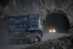 Tunnel through the Mountain (kate willmer) Tags: road lorry car lights tunnel mountain driving colcacanyon peru