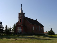 Leross Saskatchewan Church 20170713_085033 (CanadaGood) Tags: canada saskatchewan sk leross building prairie church steeple cross cameraphone 2017 thisdecade canadagood colour color green blue red tree