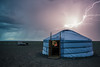 Bayazang, Mongolia - In Safety (GlobeTrotter 2000) Tags: asia bayazang cliffs desert dinosaurus flaming ger gobi light lightening mongolia night reading storm thunder thusnderstorm tourism travel visit bayanzag safety yurt flash flashpoint tent