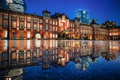 Time to Reflect (marco ferrarin) Tags: rain reflect reflection bluehour pavement tokyostation 東京駅 brick square historic architecture puddle marunouchi 丸の内