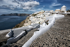 The beautiful village of Oia (marko.erman) Tags: oia santorini cyclades thira island caldera volcano crater slope steep village white houses whitepainted sony wideangle perspective scenic beautiful travel popular greece sea water clouds sky