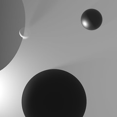 ECOS: Exploring Compositions Of Shapes => Img. 07 (Michalis_Kalamenios) Tags: bw ecos 3d render cgi art composition shapes black white simple minimal tones balance geometry geometrical computer contrast graphic experimental exploring equilibrium calm grey greyscale light sphere transparent translucent