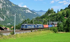 BLS Class 465s_Intermodal Freight_Blausee-Mitholz_240817_01 (DS 90008) Tags: bls cargo class465s 465011 465013 blauseemitholz switzerland swissrailways swissalps kandersteg fruitigen train track electrictraction electricloco electricfreight locomotive wagons containers mountains castle hills landscape logistics carriages rollingstock