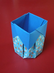 Tall octagonal basket (Mélisande*) Tags: mélisande origami box octagon