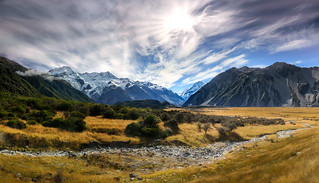 View to Mount Sefton and Mount Cook over Tasman River Valley
