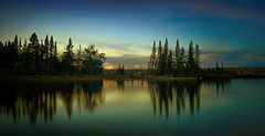 Night Scene Lake (Stuzal) Tags: trees forest lake cabin water reflection lakeofthewoods clouds evening blue still shadow night sundown sunset canada travel manitoba falconlake