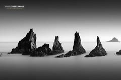 The Guards (Arnaud Bertrande | Photographe) Tags: asturias asturies landscape longexpo playadelagueirúa poselongue spain arnaudbertrande bw espagne longexposure minimalism nb paysage rochers nikond810 nikon
