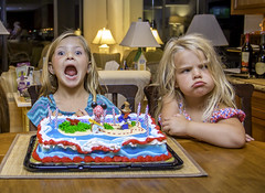 Mixed Emotions... (crabsandbeer (Kevin Moore)) Tags: august birthday caroline family kids play summer water party emotion happy sad mad girls humor funny candid children cake birthdaycake celebration pout