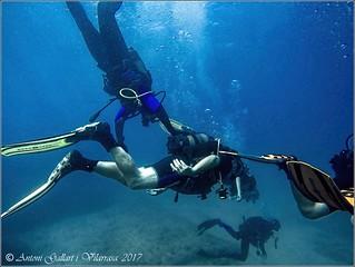 La meva primera immersió, amb els meus dos fills.