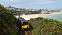 150120 climbs away from St Ives with the 2A24 St Ives to St Erth service, 6th Sept 2017. (Dave Wragg) Tags: 150120 class150 sprinter gwr 2a24 dmu railcar stivesbranchline railway stives cornwall