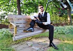 Leather Vest (JeanLemieux91) Tags: black noir suit suited costume complet aviator sunglasses gants gloves guantes guanti tie cravate chemise camisa shirt white blanc blanca pantalon pants matching assorti classic classique dress habillé shiny luisant shoes chaussures zapatos bexley derby montere cuir cuero leather leder montréal québec canada