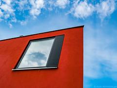 red&sky (alain.winterberger) Tags: architecture rouge red fenêtre window sky ciel immeuble batiment abstrait abstract minimal lausanne rotillon lumix gx80 panasonic switzerland suisse schweiz svizerra urbain urban