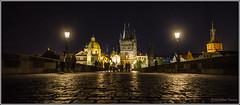 Walking on the Karlův most.... (Prague, Czech Republic) (Stefano Flammia) Tags: praga prague praha pontecarlo karlůvmost charlesbridge bridge river tower night walk bluehour