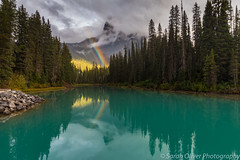 Just as the rain was clearing... (SarahO44) Tags: canadian cloud emerald lake landscape low mountain mountains national nature outdoors park rainbow reflection rockies rocky trees turquoise yoho field britishcolumbia canada ca walcott peak canon 6d sunlight british columbia