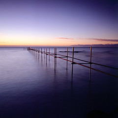 Skeleton Bridge - Velvia 100 exp* (magnus.joensson) Tags: sweden swedish skåne winter coast january hasselblad 500cm zeiss distagon 50mm cf fle fuji velvia 50 e6 6x6 81a exp exp2007 sunrise winterbeach2017