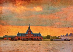 Railroad Terminal Museum, Liberty State Park, NJ (NYAndreas) Tags: hudsonriver jerseycity newjersey newyork newyorkcity nj nyc railroadterminal wip manhattan railroad museum libertystatepark ny usa view sunset sky clouds colorful landscape water river travel flickrsbest