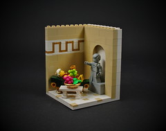 03 - Roman Emperor (CeciΙie) Tags: lego moc roman emperor vignette vig collectible minifig cmf grapes fruit dining lounge lounging statue