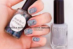 [Unidos somos fortes] Kiko 328 - Gray & PL - Blue Bird of Paradise (Cinthia Emerich) Tags: esmalte unha nail nailpolish naillacquer nailenamel nailvarnish kiko 328 gray pl penelopeluz bbp bluebirdofparadise glitter