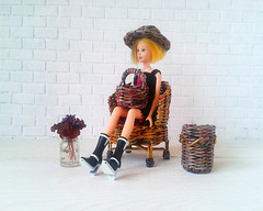 Realistic play scale doll hat. Barbie size wicker doll accessories.