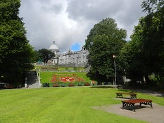 Union Terrace Gardens, Aberdeen, July 2017 (allanmaciver) Tags: union terrace gardens aberdeen silver city granite trees green clouds sunshine seats steps central open space allanmaciver dome st marks his majesty theatre red bon accord floral display shield leopard