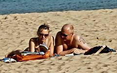Couple reading at the beach (pedrosimoes7) Tags: reading books beach praia sand people cascais portugal couple casal tourism turismo turistas