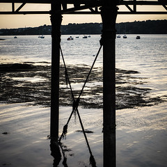Menai Strait (real ramona) Tags: wales bangor menai pier sea ocan bridge sunset weeds boat
