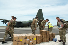 Unloading aid supplies-Turks and Caicos Islands