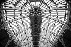 Interlocked (McQuaide Photography) Tags: edinburgh scotland unitedkingdom greatbritain gb uk sony a7rii ilce7rm2 alpha mirrorless 1635mm sonyzeiss zeiss variotessar fullframe mcquaidephotography adobe photoshop lightroom handheld inside indoor interior building city capitalcity angle wideangle pov shape form structure connection connecting architecture museum nationalmuseumofscotland nationalmuseumsscotland royalmuseumbuilding grandgallery mainhall castiron roof ceiling gallery atrium perspective blackandwhite bw mono monochrome blackwhite lines geometry geometrical shadow light