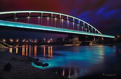 aquamarine night (cherryspicks (on/off)) Tags: hendrix bridge railway zagreb night croatia longexposure sava river water