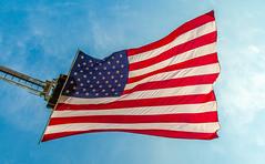 Flying Against The Morning Sky (John Kocijanski) Tags: flag sky americanflag ladder canon24105mmf4l canon5dmkii