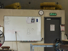 Fluid Dynamics at 11:22 (Steve Taylor (Photography)) Tags: brush broom whiteboard gascylinder bench stool fan exit sign clock fireaction drawing sketch table door newzealand nz southisland canterbury christchurch dimensions eraser