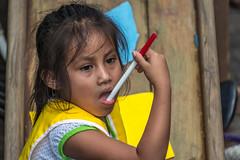 How should I express myself? (Pejasar) Tags: escuelaintegrada guatemala antigua girl coloredmarker pen mouth expression student