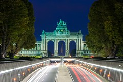 Cinquantenaire Arch (dressk) Tags: cinquantenaire arch architecture jubelpark brussels belgium belgique belgïe blue hour bluehour lights longexposure long exposure brussel bruxelles europe travel traffic city nikon d40x nikond40x sky