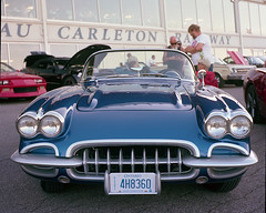 Corvette (Howard Sandler (film photos)) Tags: car vintage corvette blue film mediumformat ricohdiacord tlr twinlensreflex portra