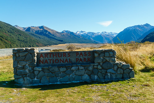 Arthur's Pass National Park sign