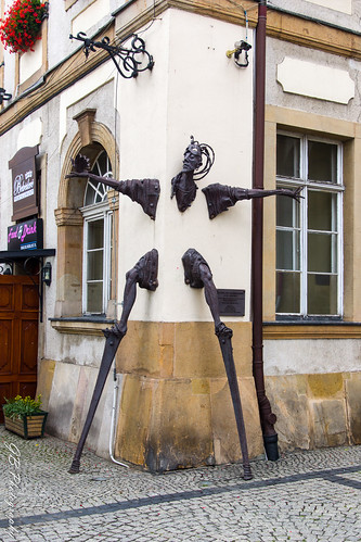 Jelenia Góra, Stilt-Walker, sculpture by Vahan Bego. Jelenia Góra in well known for its International Street Theaters Festival