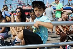 Railing (dtanist) Tags: nyc newyork newyorkcity new york city sony a7 konica hexanon 40mm brooklyn coney island boardwalk beach sand railing fence boy child kid