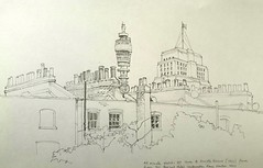The Post Office tower and Senate House, viewed from room 311 of the Bedford Hotel, London (Blue York) Tags: allantadams pencil drawing architecturalillustration moleskine sketchbook bttower senatehouse london bloomsbury