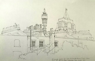 The Post Office tower and Senate House, viewed from room 311 of the Bedford Hotel, London