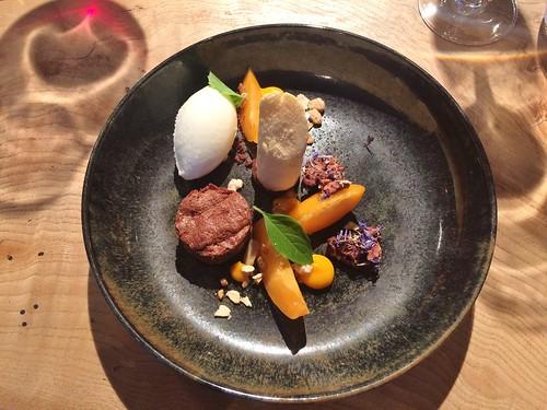 Chocolat / abricot / amande / baies d'argousier / basilic « Sweet Dani »/ yaourt