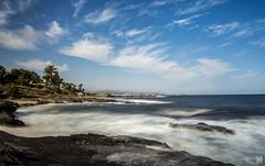 Cielo y Mar (JoseQ.) Tags: playa mar cielo palmerasled paisaje marina azul nubes oceano costa arena rocas almeria largaexposicion filtro nd agua