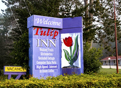 Tulip Inn, Huntsville (Eva Orleans) Tags: motel inn huntsvilleontario tulipinn sign foliage purple rusticmodern arrowheadparkroad cottagecountry