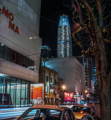 saturday night on howard street (pbo31) Tags: sanfrancisco california night black dark nikon d810 color august summer 2017 city urban boury pbo31 lightstream traffic motion roadway infinity soma sfmoma salesforce howardstreet construction panoramic stitched panorama large vertical