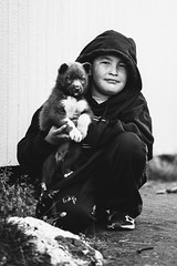 A Sled Dog Puppy Without a Name (JeffAmantea) Tags: sled dog puppy inuit nunavik quebec kangiqsujuaq wakeham bay north northern canada black white blackwhite whiteblack portrait tones sony alpha sonyalpha a7ii emount mirrorless nikon nikkor 100mm 28 metabones young inuk