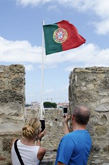 Taking pics in Portugal (danhusseyphoto) Tags: portugal travel flag trip vacation phone pic pictures photographing castle castelo soajorge stgeorge lisbon europe portuguese symbol travelphotography tourist tourism