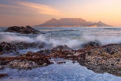 Table Mountain at Sunrise (Luc Stadnik) Tags: southafrica capetown sea seascape mountain wave crashingwave bloubergstrand eastcape anemones pooltide lowtide pool sunrise