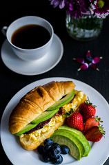 Croissant with Avocado, Bacon and Egg (ChicqueeCat) Tags: breakfast food nikon d3300 40mm macro closeup fruits bread